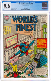 World's Finest Comics #76 (DC, 1955) CGC NM+ 9.6 Off-white to white pages