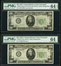 Small Size:Federal Reserve Notes, Fr. 2054-D $20 1934 Dark Green Seal Mule Federal Reserve Note. PMG Choice Uncirculated 64 EPQ;. Fr. 2055-D $20 1934A Feder... (Total: 2 notes)
