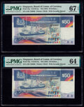 Singapore Board of Commissioners of Currency 50 Dollars ND (1987) Pick 22a TAN#S-5a Two Examples PMG Superb Gem Un