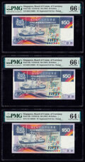 Singapore Board of Commissioners of Currency 50 Dollars ND (1987) Pick 22b TAN#S-5b Three Examples PMG Gem Uncircu
