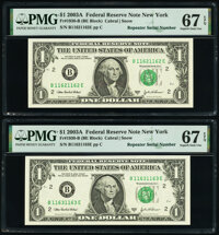 Repeater Serial Numbers 11621162 and 11631163 Fr. 1930-B $1 2003A Federal Reserve Notes. PMG Superb Gem Unc 67 EPQ...