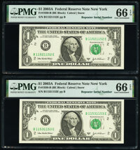 Repeater Serial Numbers 11521152 and 11531153 Fr. 1930-B $1 2003A Federal Reserve Notes. PMG Gem Uncirculated 66 EPQ...