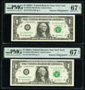 Small Size:Federal Reserve Notes, Repeater Serial Numbers 11231123 and 11251125 Fr. 1930-B $1 2003A Federal Reserve Notes. PMG Superb Gem Unc 67 EPQ.. ... (Total: 2 notes)