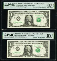 Repeater Serial Numbers 11231123 and 11251125 Fr. 1930-B $1 2003A Federal Reserve Notes. PMG Superb Gem Unc 67 EPQ...