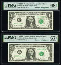 Repeater Serial Numbers 11261126 and 11271127 Fr. 1930-B $1 2003A Federal Reserve Notes. PMG Graded Superb Gem Unc 68 EP...