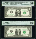 Repeater Serial Numbers 11351135 and 11371137 Fr. 1930-B $1 2003A Federal Reserve Notes. PMG Gem Uncirculated 66 EPQ...