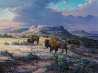 J.W. Thrasher (American, b. 1940) Grassland Wanderers, 1996 Oil on canvas 12 x 16 inches (30.5 x 40.6 cm) Signed lo