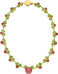 Estate Jewelry:Necklaces, Laura Munder Tourmaline, Peridot, Gold Necklace. ...