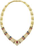 Estate Jewelry:Necklaces, Diamond, Ruby, Sapphire, Gold Necklace . ...