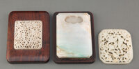 A Chinese Jadeite Inkstone with Jade Carved Plaques, Ming and Qing Dynasty 1-1/2 x 5 x 3-1/2 inches (3.8 x 12.7 x 8.9 cm...