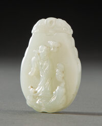 A Chinese Celadon Jade Celestial Lady Plaque, Qing Dynasty 2-1/4 x 1-1/2 x 0-1/4 inches (5.7 x 3.8 x 0.6 cm)