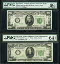 Small Size:Federal Reserve Notes, Fr. 2057-B; I $20 1934C Old Back Federal Reserve Notes. PMG Graded Gem Uncirculated 66 EPQ; Choice Uncirculated 64 EPQ.. ... (Total: 2 notes)