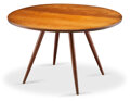 Furniture, George Nakashima (American, 1905-1990). Early Dining Table, 1952. Walnut, turned cherry legs. 28-1/2 x 47 inches (72.4 x...