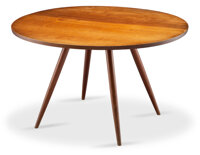 George Nakashima (American, 1905-1990) Early Dining Table, 1952 Walnut, turned cherry legs 28-1/2 x 47 inches (72.4 x