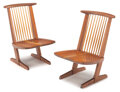 Furniture, George Nakashima (American, 1905-1990). Pair of Conoid Lounge Chairs, 1990. Sap walnut . 34 x 22-1/4 x 26 inches (86.4 x... (Total: 2 Items)
