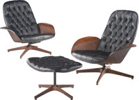 George Mulhauser (American, 1922-2002) A Pair of 'Mr. Chair' Lounge Chairs and an Ottoman, circa 1960, Plycraft Plywoo...