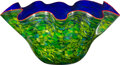 Glass, Dale Chihuly (American, b. 1941). Cobalt Macchia with Huckleberry Lip Wrap, 2003. Glass. 16-1/2 x 35...