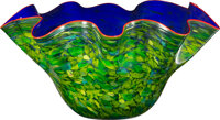 Dale Chihuly (American, b. 1941) Cobalt Macchia with Huckleberry Lip Wrap, 2003 Glass 16-1/2 x 35 x 31 inches (41.9 x