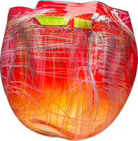 Dale Chihuly (American, b. 1941) Ruby Soft Cylinder with Teal Lip Wrap, circa 2016 Glass 20 x 20 x 19 inches (50.8 x