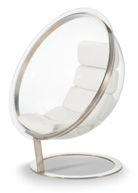Christian Daninos (French, 1944-1992) Bubble Chair, circa 1968 Stainless steel, lucite, leather upholstery 56 x 48 x