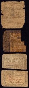 Colonial Notes:Pennsylvania, Delaware February 28, 1746 20s Good-Very Good;. Maryland March 1, 1770 $2 Poor;. Pennsylvania June 18, 1764 20s Very G... (Total: 4 items)