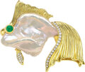 Estate Jewelry:Brooches - Pins, A&Z Freshwater Cultured Pearl, Diamond, Emerald, Gold Broo...