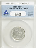 1893-O 25C --Cleaned, Scratched--ANACS. AU55 Details. NGC Census: (4/134). PCGS Population (21/158). Mintage: 3,396,000...