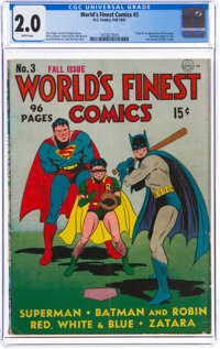 World's Finest Comics #3 (DC, 1941) CGC GD 2.0 White pages