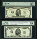 Small Size:Federal Reserve Notes, Fr. 1962-C*; D* $5 1950A Federal Reserve Star Notes. PMG Gem Uncirculated 65 EPQ.. ... (Total: 2 notes)