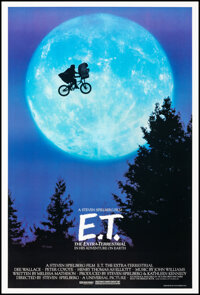 """E.T. The Extra-Terrestrial (Universal, 1982). Very Fine+ on Linen. One Sheet (26.75"""" X 40.5"""") Bicycle Style. S..."""