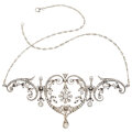Estate Jewelry:Necklaces, Edwardian Diamond, Silver-Topped Gold, Platinum Necklace. ...