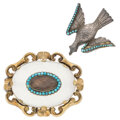 Estate Jewelry:Brooches - Pins, Victorian Hair, Turquoise, Chalcedony, Glass, Gold, Silver Brooches. ... (Total: 2 Items)
