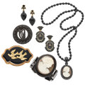 Estate Jewelry:Lots, Victorian Diamond, Bog Oak, Jet, Black Onyx, Seed Pearl, Shell, Gold, Silver, Gold-Filled Mourning Jewelry. ... (Total: 6 Items)