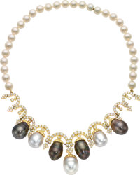 South Sea Cultured Pearl, Diamond, Cultured Pearl, Gold Necklace ... (Total: 2 Items)