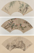 Paintings, Chinese School (19th-20th Century). Three Fan Paintings. Fan leaf, ink and color on paper. 10 x 21 inches (25.4 x 53.3 c... (Total: 3 Items)