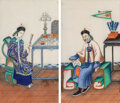 Works on Paper, A Pair of Chinese Pith Paitings, mid-19th century. 11-1/2 x 6-1/2 inches (29.2 x 16.5 cm) (each work). ... (T...