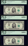 Small Size:Federal Reserve Notes, Fr. 1975-J*; K*; L* $5 1977A Federal Reserve Star Notes. PCGS Very Choice New 64PPQ.. ... (Total: 3 notes)