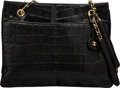 """Luxury Accessories:Bags, Chanel Vintage Black Crocodile Shoulder Bag with Gold Hardware. Condition: 4. 12.5"""" Width x 9.5"""" He..."""