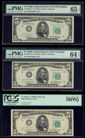 Small Size:Federal Reserve Notes, Fr. 1963-C* (2); D* $5 1950B Federal Reserve Star Notes. PCGS Choice About New 58PPQ; PMG Graded Gem Uncirculated 65 EPQ; Choi... (Total: 3 notes)