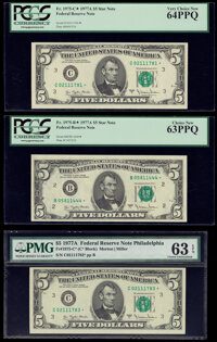 Fr. 1975-B*; C* (2) $5 1977A Federal Reserve Star Notes. PCGS Choice New 63PPQ; PCGS Very Choice New 64PPQ; PMG Choice U...