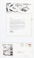 Memorabilia:Comic-Related, Bill Watterson Calvin and Hobbes Signed Correspondence (Universal Press Syndicate, 1987)....