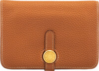 """Hermès Gold Togo Leather Dogon Compact Wallet with Gold Hardware I Square, 2005 Condition: 4 5.5"""" Width x 4&..."""