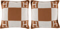 """Luxury Accessories:Home, Hermès Set of Two: Ecru & Camel Small Avalon Pillows. Condition: 1. 20"""" Width x 20"""" Height x 6.5"""" Depth. ... (Total: 2 )"""