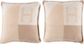 """Luxury Accessories:Home, Hermès Set of Two: Coco & Camomille Cashmere H Drapeau Pillows. Condition: 1. 18"""" Width x 18"""" Height x 6.5"""" Depth. ... (Total: 2 Items)"""