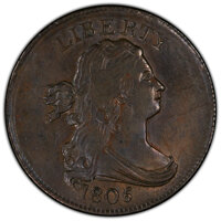 1805 1/2 C No Stems, C-1, B-1, R.1, MS62 Brown PCGS. PCGS Population: (2/5 and 0/0+). NGC Census: (3/4 and 0/0+). MS62...