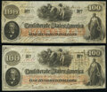 Confederate Notes:1862 Issues, 1864 Presentation Piece T41 $100 1862 PF-12 Cr. 317A Fine; . T41 $100 1862 PF-20 Cr. 316A Very Fine. . ... (Total: 2 notes)