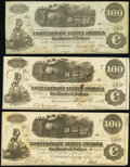 Confederate Notes:1862 Issues, T40 $100 1862 PF-1 Cr. 300 Two Examples Very Fine.. T40 $100 1862 PF-3 Cr. 304 Extremely Fine.. ... (Total: 3 notes)