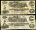 """Confederate Notes:1862 Issues, """"Issued at Hempstead, Texas"""" T39 $100 1862 PF-13 Cr. 296 Very Fine;. T39 $100 1862 PF-13 Cr. 294 Very Fine-Extremely Fine.... (Total: 2 notes)"""