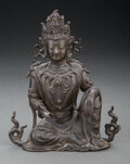 Other, A Chinese Bronze Seated Bodhisattva, Ming Dynasty. 7-1/4 x 6-1/8 x 4 inches (18.4 x 15.6 x 10.2 cm). ...