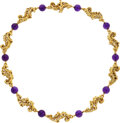 Estate Jewelry:Necklaces, Peter Lindeman Amethyst, Gold Necklace . ...